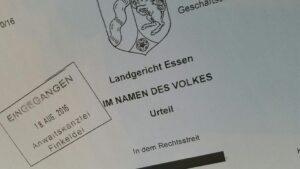 Urteil des Landgerichts Essen vom 28. Juli 2016, Az. 6 O 170/16